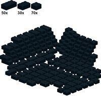 Lego - Bricks - Black - A24 - Basicsteine schwarz - breit - 70Stk 2x2;  30Stk 2x