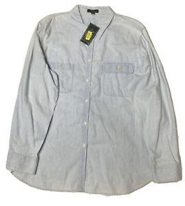 Lauren Jeans Co Ralph Lauren Plus Size Chambray Long Sleeve Shirt- Women's 2X