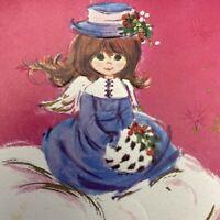 Vintage Mid Century Christmas Greeting Card Pretty Girl Hot Pink Lavender Dress