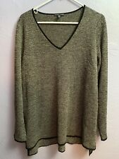 Eileen Fisher Tweed Italian Yarn V Neck Sweater Long Sleeve Size L