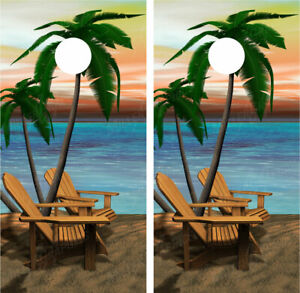 Beach Palm Trees #7 Ocean Sunset Scene Cornhole Board Decal Wrap Wraps
