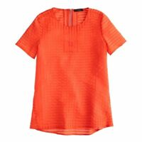 J Crew Shadow Stripe Sheer Short Sleeve Blouse Top Tee Orange Red XS Size 2