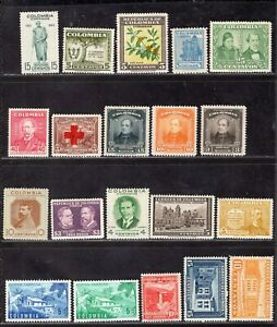 COLOMBIA TWENTY STAMPS MNH AND MH