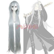 USA Ship Black Butler Kuroshitsuji Undertaker Long Gray Straight Cosplay Wig