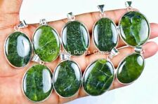 5 PCs Natural NEPHRITE JADE Gemstone 925 STERLING Silver Plated Pendant VPB34