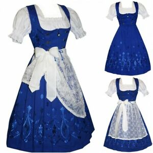 Sz 2 XS Dirndl Oktoberfest German Dress Waitress Hostess Long Party Hostess Blue