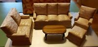 Town Square Miniatures Dollhouse 5 Piece Living Room Set Beige Upholstered NEW