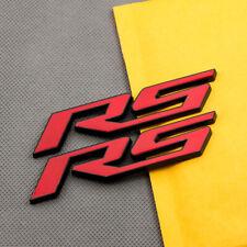 2x Black & Red Coated RS Letter Rear Lid Badge Side Door Sport Emblem 3D Sticker