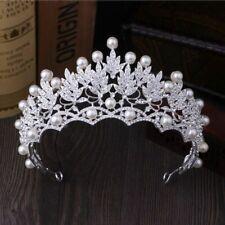 Cristal Hoja Con Perlas de Novia Coronas Tiaras Barroco Pelo Boda Accesorios