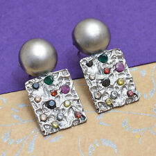 Handmade Stud Earrings With Gemstones Rhodium Plated Designer Bollywood Jewelry