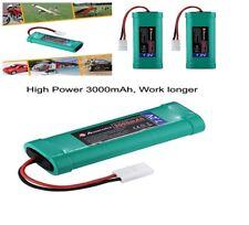 Powerextra Flat NiMH High Power Battery Packs with Tamiya Con 2 Pcs 7.2V 3000mAh