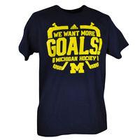 NCAA Michigan Wolverines Adidas Hockey Mens Medium Tshirt Tee Navy Blue Goals