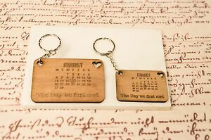 Personalised Wood Calendar Keyring love gift Day you became Mum Dad Wife