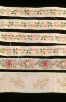 Vintage Pink Ribbons Trim Doll Sewing Clothes Brocade Silk Jacquard