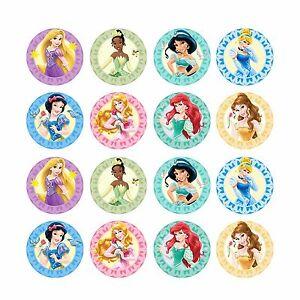 24x Disney Princess Edible Cupcake Toppers Birthday Wafer Paper Discs 4cm uncut
