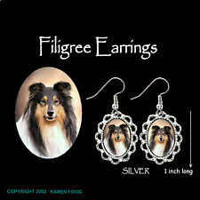 Collie Dog Rough Coat Tri Color - Silver Filigree Earrings Jewelry