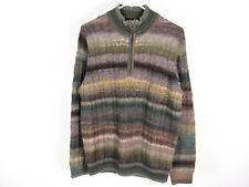 NWT $395 Hickey Freeman S Wool Blend 1/2 Zip Multi-colored Striped Sweater