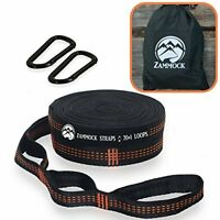 Adjustable Tree Hammock Straps with Set of Steel Carabiners for Camping (ORANGE)