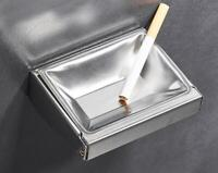 Stainless Steel Brushed Nickel Wall Mounted Cigarette Smoking Ashtray Top Square