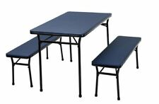 Cosco 3-Piece Blue Folding Table Bench Set Indoor Outdoor Picnic Camping Yard