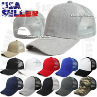 Trucker Hat Baseball Mesh Cap Curved Visor Plain Snapback Adjustable Solid Hats