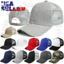 Trucker Hat Baseball Cap Snapback Adjustable Plain Mesh Solid Curved Visor Hats