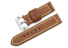 24mmHandgefertigte echtes Leder Uhrenarmband Strap Stahl Tan Buckle Für Panerai