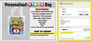 Personalised Bingo tote Bag Ideal for Carrying Dabbers, Pens, Glasses ANY NAME