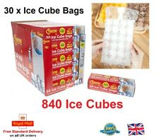 30 x Disposable Ice Cube Bags Clear Fridge Freezer Plastic BBQ Party 840 Cubes