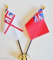 Royal Navy White Ensign & Merchant Red Ensign Double Friendship Table Flag Set