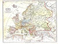 1890 EUROPE Political Survey 19th Century Antique Map