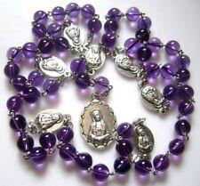 Valuable Amethyst Beads 7 SEVEN SORROWS MARY ROSARY CATHOLIC NECKLACE GIFT BOX