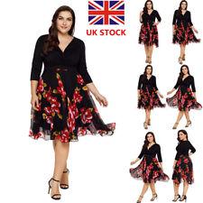 Plus Women Vintage Floral V Neck Wrap Dress Evening Party Chiffon Swing Dress