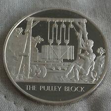 La Poulie Bloc l'humanité inventions hallmarked silver proof 32 mm médaille