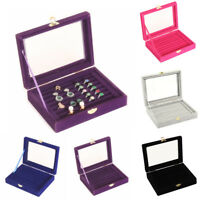UK_ VELVET JEWELRY RING EARRING DISPLAY CASE ORGANIZER BOX TRAY HOLDER STORAGE F