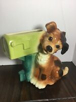 Vintage 1950's Royal Copley Dog & U.S. Mail Box Planter Vase
