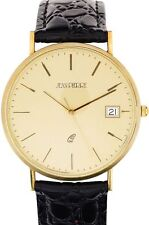 Gents 9ct Gold Wristwatch Champagne Face with Date - Black Leather Strap - Box
