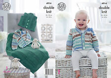 "King Cole DK  Knitting Pattern 4914: Jacket,Waistcoat & Blanket,14""-22"""