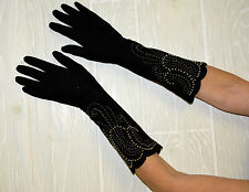"Beaded Black Gloves 15"" long SEXY LOLITA VINTAGE fit a normal hand EXCELLENT"