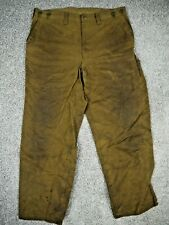 CC FILSON TIN CLOTH FISHING/HUNTING PANTS TROUSERS VTG OILED/WAXED MENS 38x30