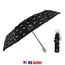 Sanrio Hello Kitty Compact Folding Foldable Umbrella 1PC : Wink Ribbon (Black)