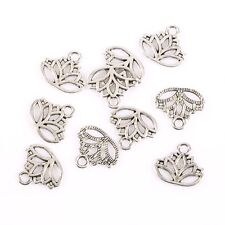 10PCS Tibetan Silver Lotus Flower Head Alloy Bead Charms Pendant Fit DIY 16*15mm