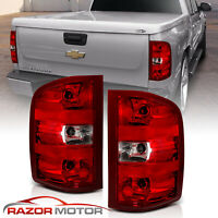 For 07-14 Chevy Silverado 1500 2500 3500 HD Red Clear Rear Brake Tail Lights Set