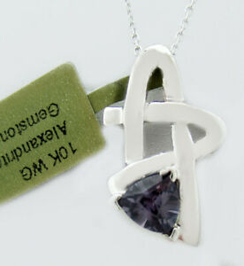 ALEXANDRITE 1.15 Cts PENDANT NECKLACE 10k WHITE GOLD * New With Tag *