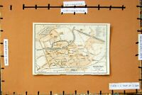 Original Old Antique Print Map 1910 Street Plan Town Courtai Kortryk Belgium