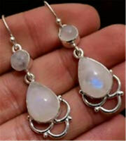 Fashion 925 Silver Women Pink Opal Earrings Ear Hook Dangle Drop Jewelry
