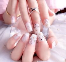 New! 3D Press on nails with flower nail art.