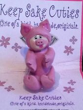 "Ooak Handmade Clay Miniature Figurine Polymer 2"" Baby pink pig piglet piggy"
