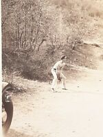 1930's Original Photo Shirtless Man Playing Baseball Identified Wesley Johnson
