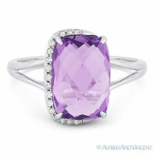 3.41 ct Cushion Cut Amethyst & Diamond Right-Hand Fashion Ring in 14k White Gold